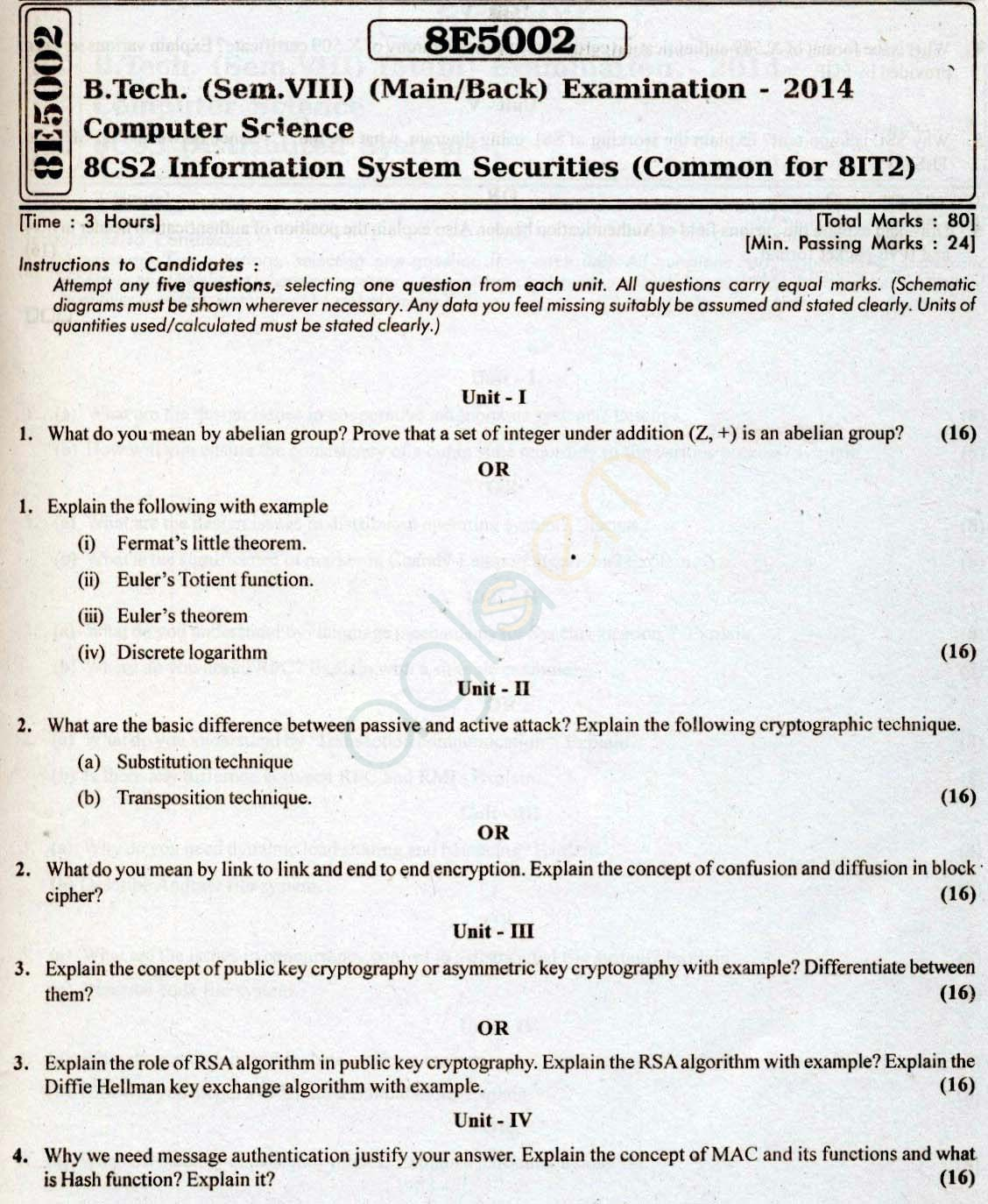 RTU: Question Papers 2014 - 8 Semester - CS - 8E5002