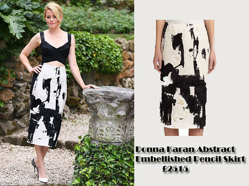 Splatter paint Trend: Donna Karan Abstract Embellished Pencil Skirt