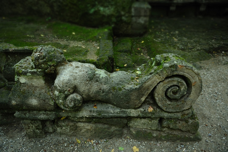 Old sculptured bench