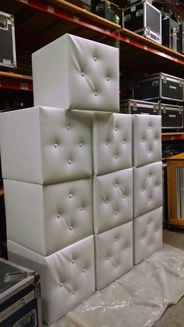 White Tufted Planter Boxes