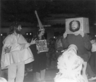 Anti-nuclear street theatre, Parliament House Canberra May 1976