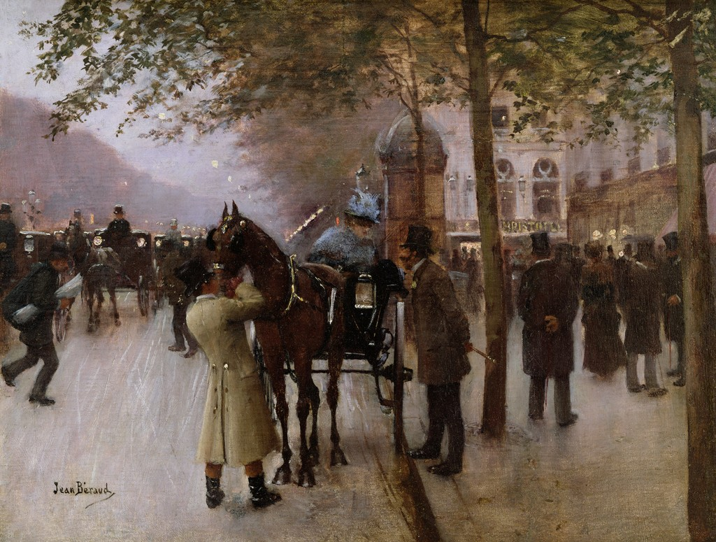 The Boulevards, Evening in Front of the Cafe Napolitain by Jean-Georges Béraud