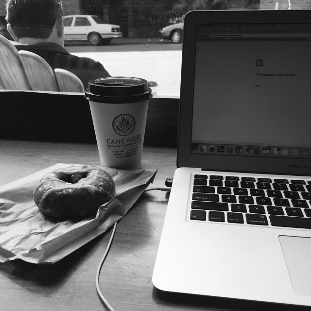 10:47 am Headed to the coffee shop to bang out a story. Have coffee and donut. Ready to write! #adayinthelifephotochallenge