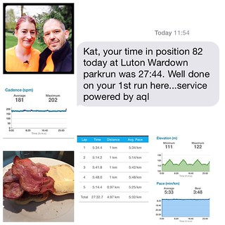 Whoop! Bacon & sausage roll earned! Shaved 1:06 off my parkrun PB at Luton Wardown parkrun for 27:44 #epic #loveparkrun #firstsub28