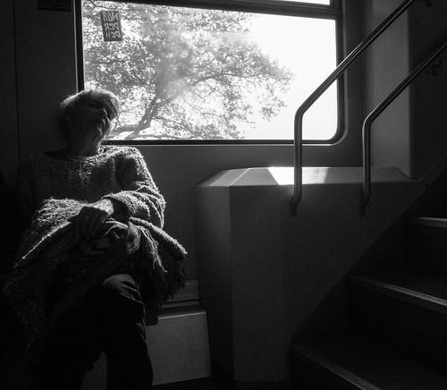 sleeping woman on the train
