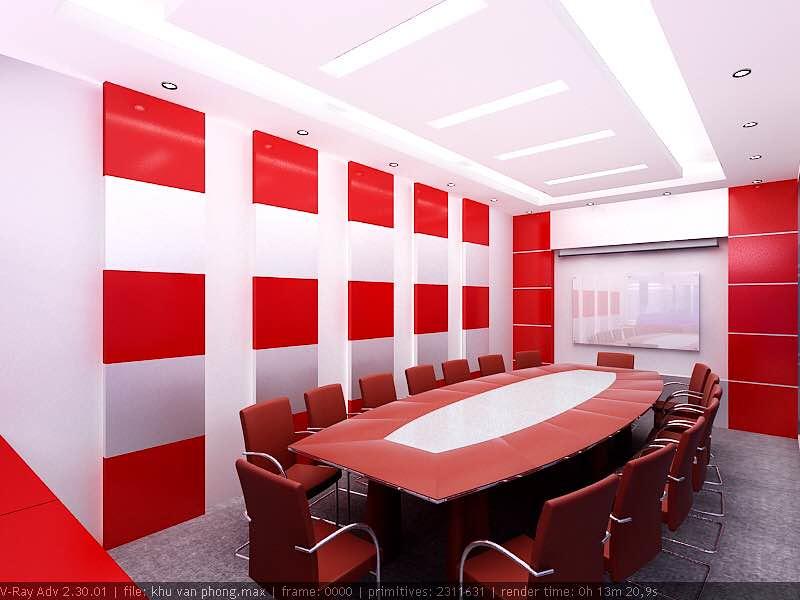 Thiết kế nội thất phòng họp sử dụng màu đỏ hợp phong thủy