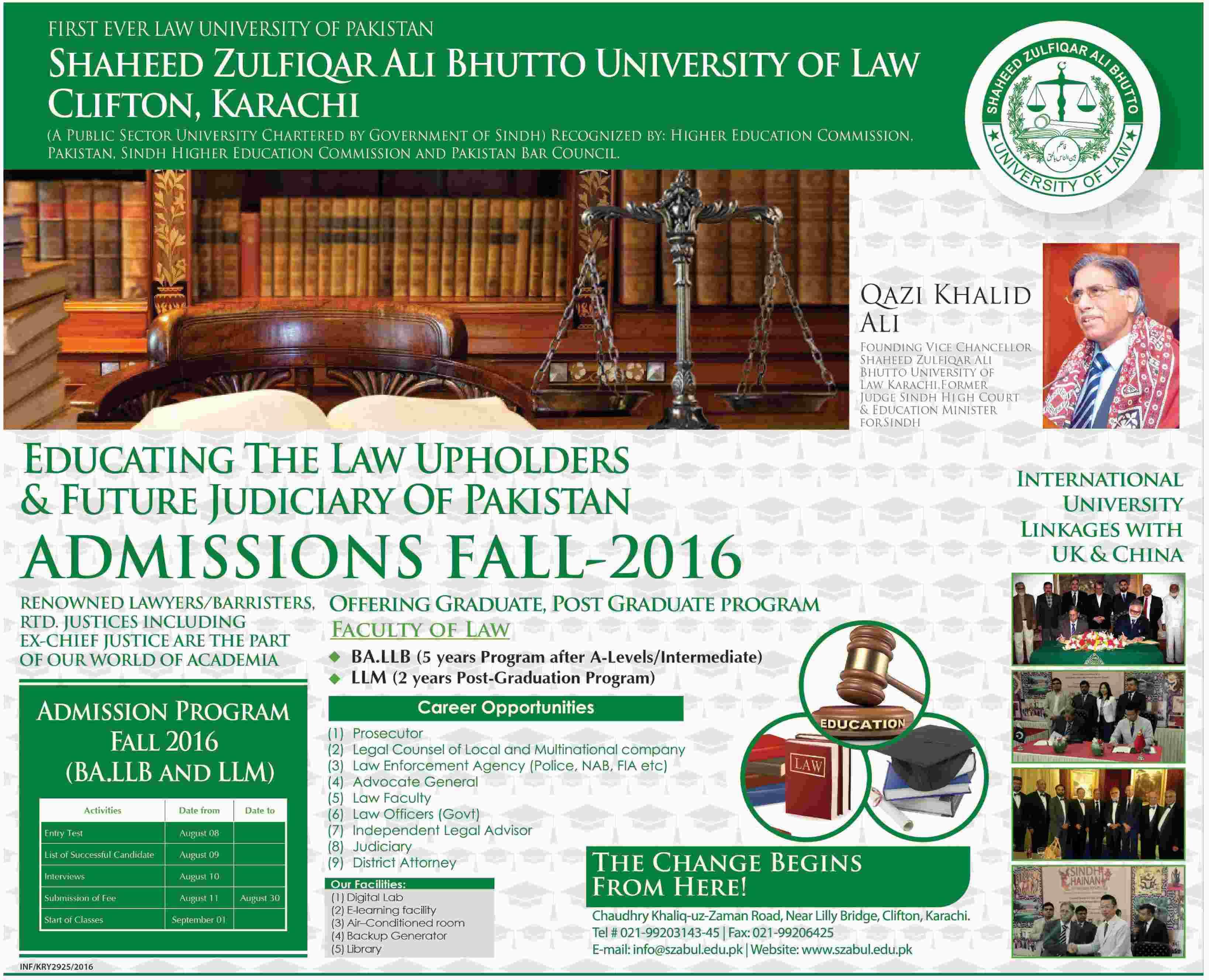 Shaheed Zulfikar Ali Bhutto University of Law Clifton Karachi Admissions