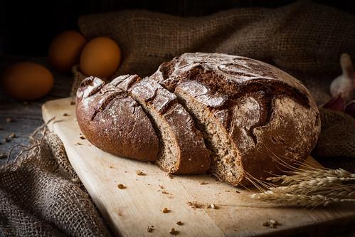 Still life of rye bread