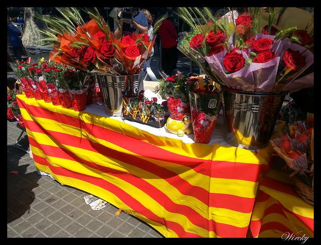 Sí que se vive Sant Jordi en Barcelona - Puesto de ramos de rosas