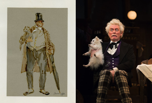 Left: Costume design for fat man with dog by Julia Trevelyan Oman for her designs for La bohème (The Royal Opera, 1974) JTO/025/049 20 © Sir Roy Strong. Right: Robert Allenby as Alcindoro in La bohème, The Royal Opera © ROH/Bill Cooper