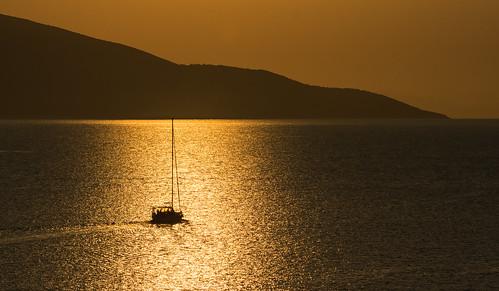 agia efimia kefalonia boat sunrise
