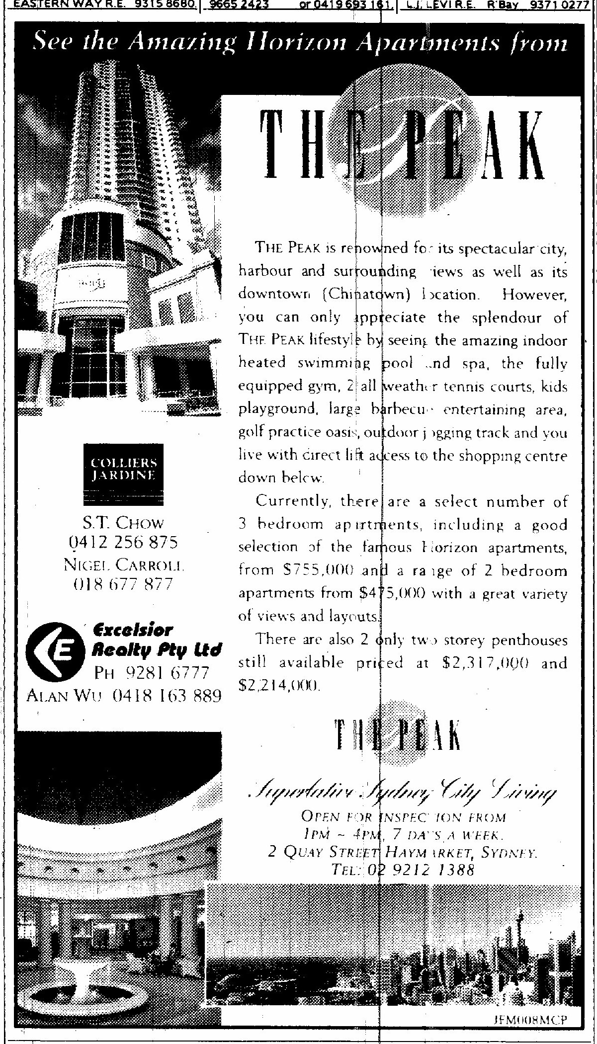 The Peak Haymarket Ad July 5 1997 SMH 14RE