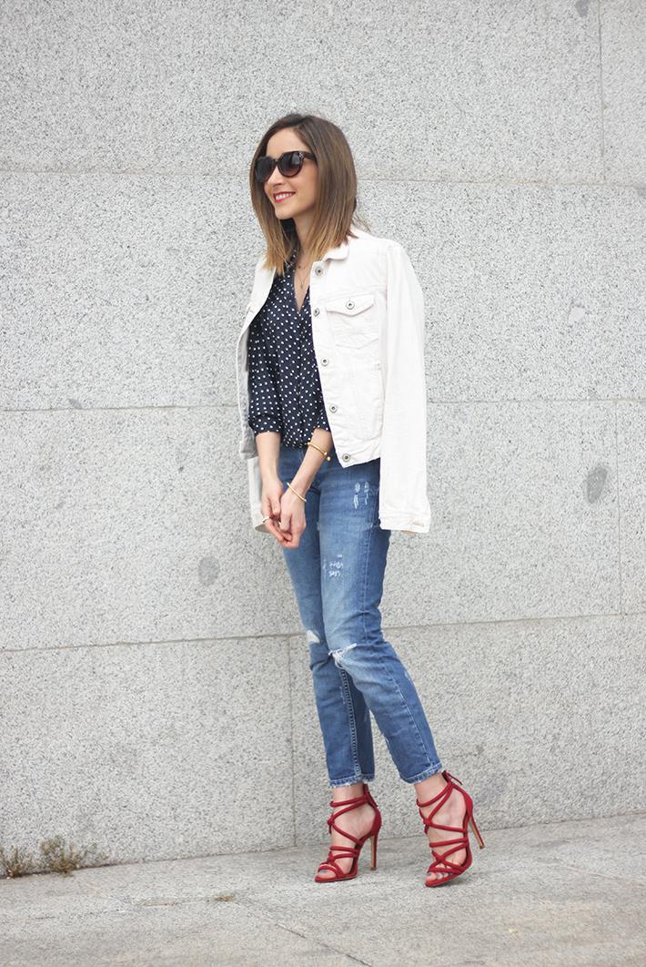 polka dots shirt jeans red sandals zara04