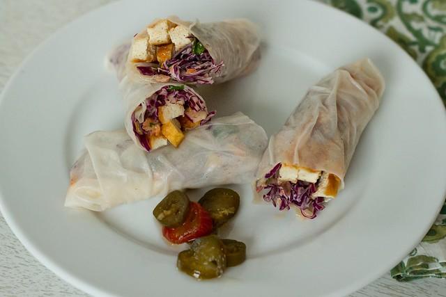 purple slaw spring rolls
