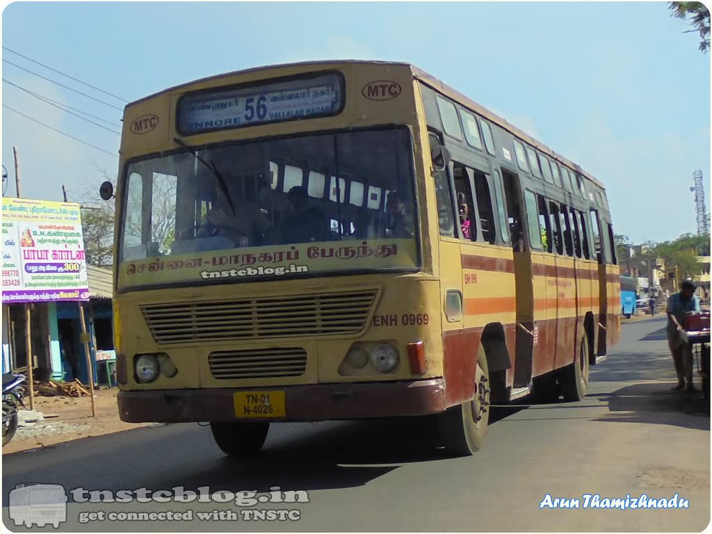 TN-01N-4026 ENH 0969  Ennore Depot 56 Ennore - Vallalar Nagar via liftgate, Thiruvottriyur, tollgate.