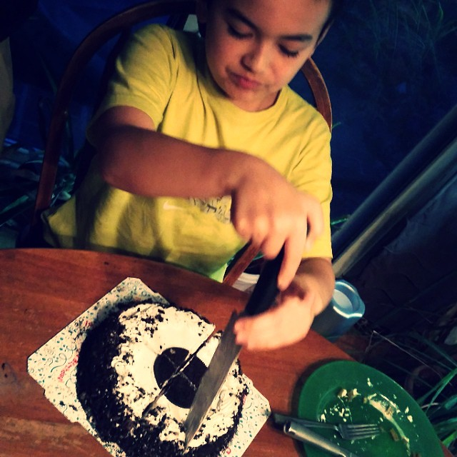 He can cut his cake and eat it too. #12yearsold #belatedcelebration #pj