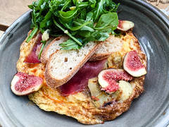 Omelette with roasted artichokes, shaved prosciutt…