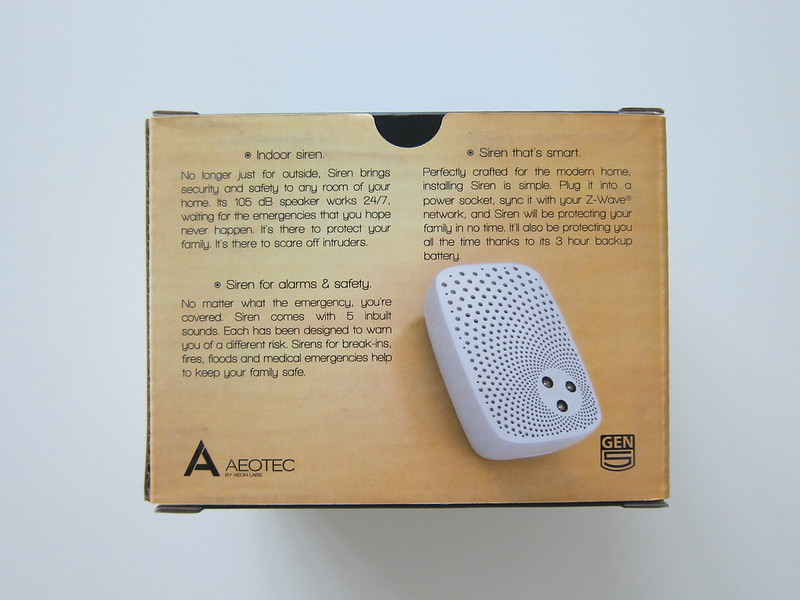 Aeon Labs Aeotec Z-Wave Siren - Box Back