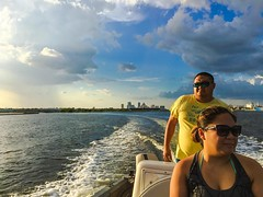 At the helm... A few days ago. #nottoday #tampabay #rain #water #boat #touristnottourist #localtourist #seddonchannel #tampa #tampasky #skyporn #cloudporn #storms #tampaigers