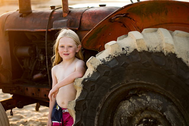 boy and tractor