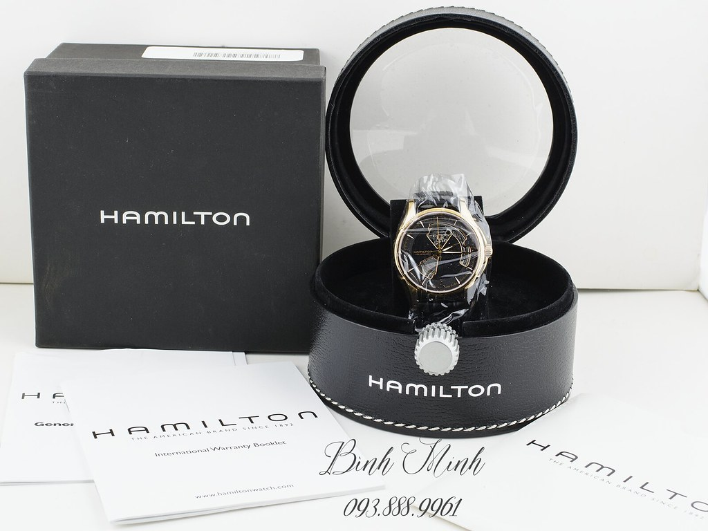 Hamilton Jazzmaster Open Heart máy Automatic, Rose Gold PVD mới 100% đủ hộp, sổ