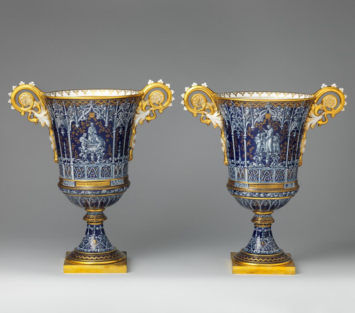1832 Gothic vases. Hard-paste porcelain. metmuseum