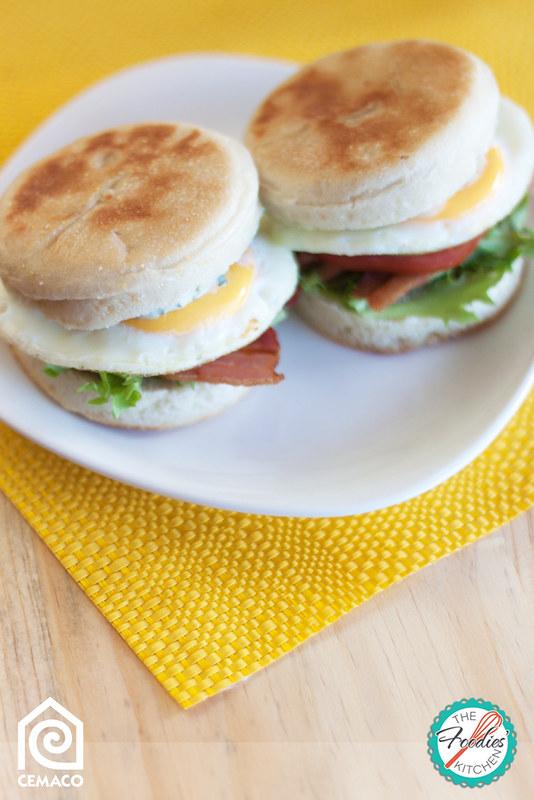 BLT Breakfast Muffin with Cilantro Mayo
