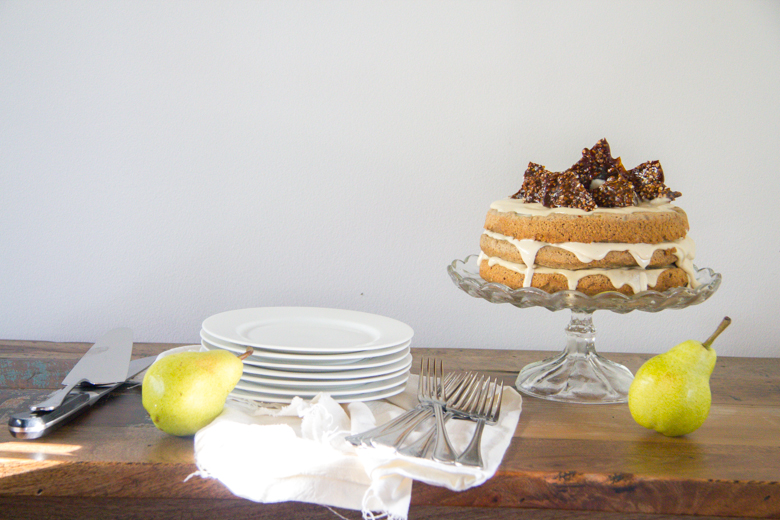 buckwheat, hazelnut + pear layer cake with vanilla cashew cream cheese filling + toasted buckwheat brittle