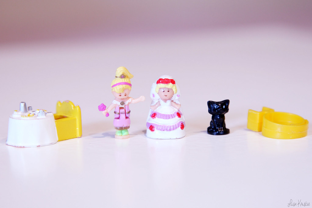 Polly Pocket figures figurines bride girl black cat restaurant table ring yellow pink purple blonde tiny miniature original vintage bluebird toys plc 1990 90's