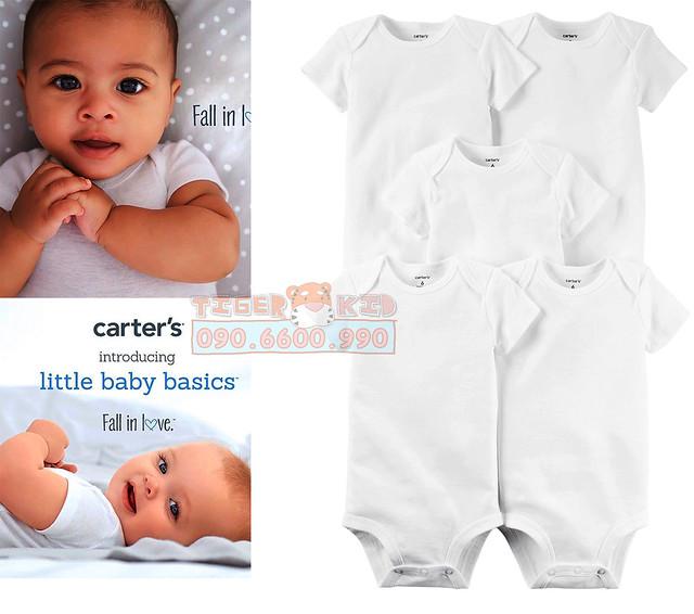 Quần áo trẻ em, bodysuit, Carter, đầm bé gái cao cấp, quần áo trẻ em nhập khẩu, Set body trắng nhập Mỹ 6M-24M