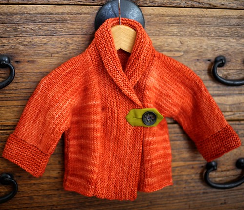 Baby Sweater-Malabrigo worsted, hand dyed fabric and vintage button