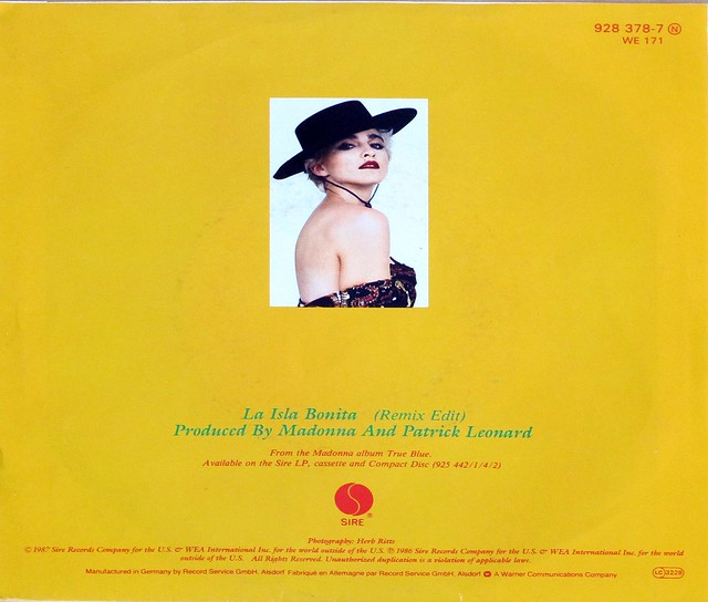 "MADONNA LA ISLA BONITA (REMIX EDIT) 7"" 45RPM PS SINGLE VINYL"