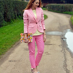Pink blazer and Capri pants, yellow striped top and block heeled shoes