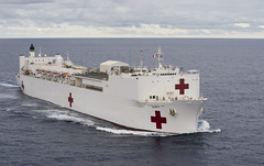 USNS Mercy (T-AH 19) transits the Pacific May 27 while en route to U.S. 7th Fleet. (U.S. Navy/MCC Christopher E. Tucker)