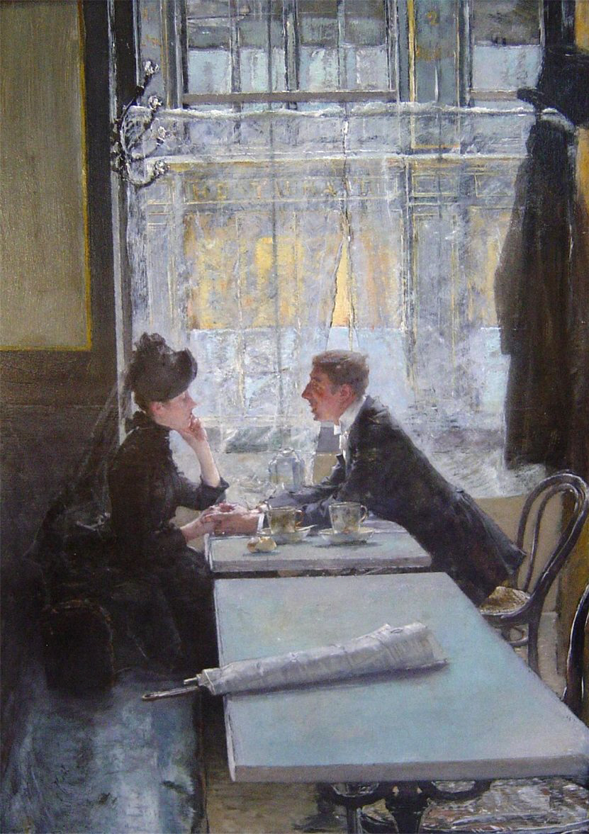 In the cafe by Gotthardt Kuehl, 1915