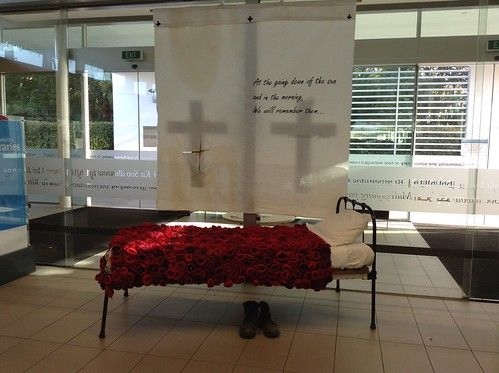 ANZAC display with poppy blanket