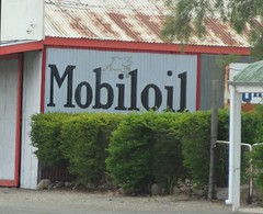 Yacka. Mobil oil sign on garage in Yacka