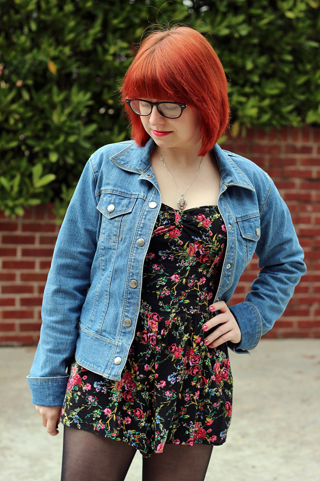 Black Floral Print Romper and a Denim Jacket