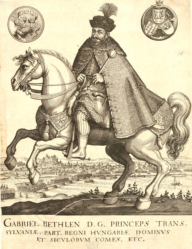 Gabriel Bethlen, a Protestant King of Hungary, on horseback, print