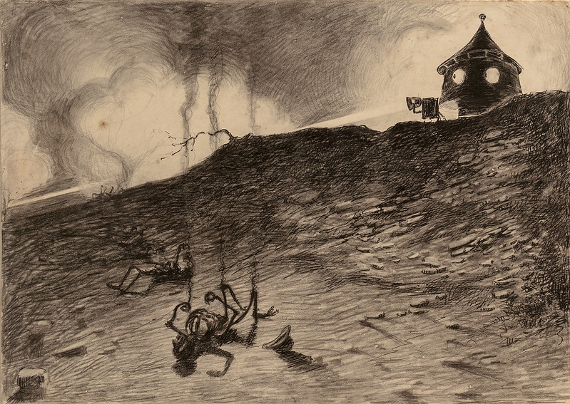 "HENRIQUE ALVIM CORRÊA - Martian Viewing Carnage, from The War of the Worlds, Belgium edition, 1906, (illustration is featured in Book I- The Coming of the Martians, Chapter VII- ""How I Reached Home,"")"