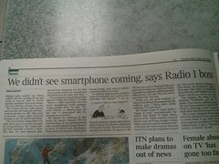 "Radio 1 boss today: ""We didn't see smartphone coming"". Beg to differ. You knew it was coming. You failed to adapt. http://plasticbag.org/archives/2006/04/is_the_pace_of_change_really_such_a_shock"