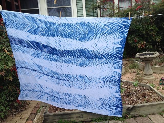 Arashi shibori indigo dyed linen