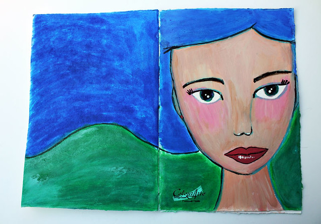 Blue-haired-girl-art-journal-page-for-ColourArte
