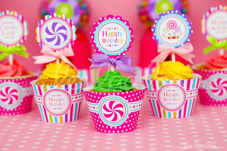 21d - Candyland - Party Circle & Cupcake Wraps- B39