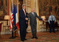 U.S. Secretary of State John Kerry shakes hands with French Foreign Minister Jean-Marc Ayrault at the French Ministry of Foreign Affairs in Paris, France on July 30, 2016. [State Department Photo/Public Domain]