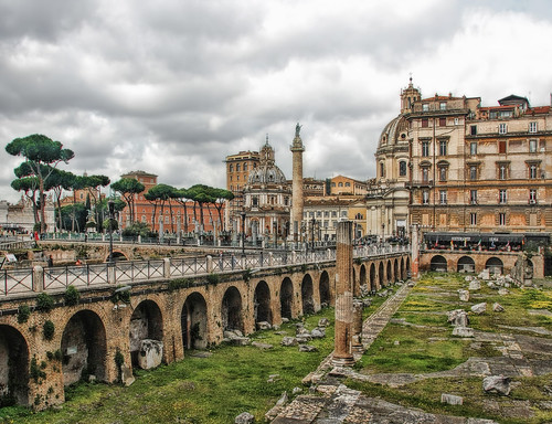 sky italy cloud rome history landscape ancient ruins cityscape view antique forum civilization column sight trajan hdr edit milestones trajansforum