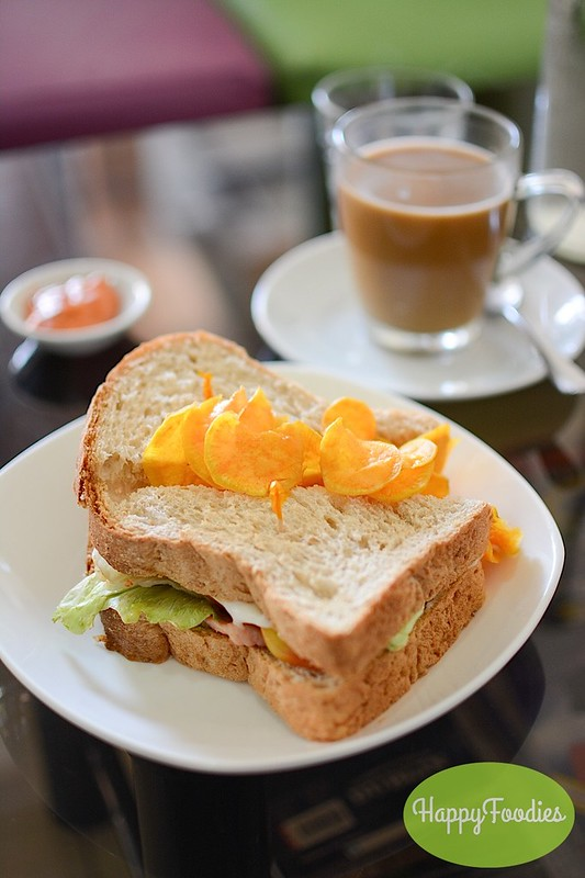 BLTC Sandwhich (P100) with brewed coffee (P88)