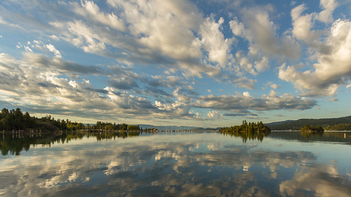 lake reflection clouds montana