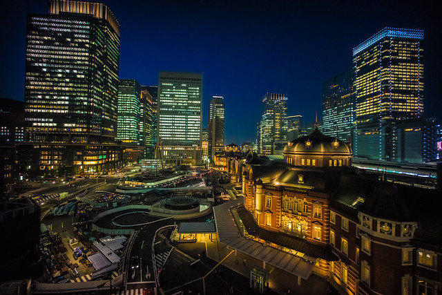Tokyo station in night view