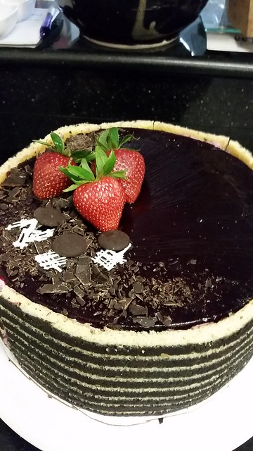Chocolate fudge cake with strawberry mousse and mixed berry gelee